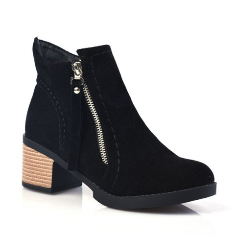 Sale Fashion Women Round Toe Chunky Heel with Zip Ankle Boots BLACK 39