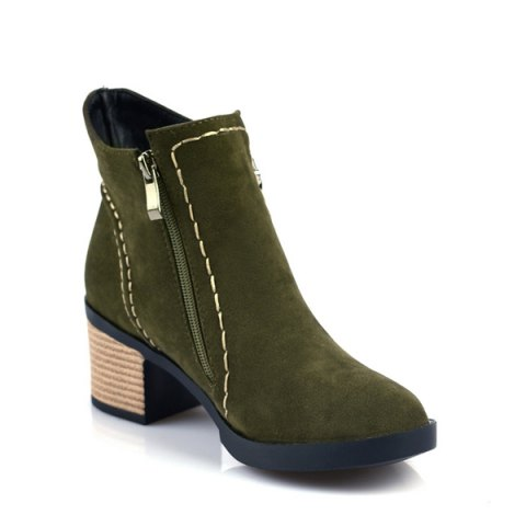Online Fashion Women Round Toe Chunky Heel with Zip Ankle Boots - 39 ARMY GREEN Mobile