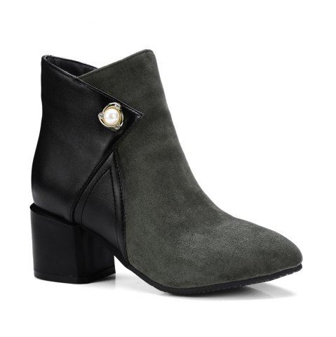 Store Fashion Women Pointed Toe Chunky Heel with Pearl Zip Ankle Boots