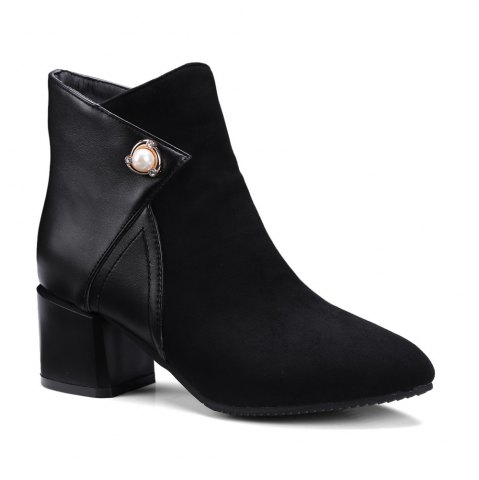 Sale Fashion Women Pointed Toe Chunky Heel with Pearl Zip Ankle Boots BLACK 39