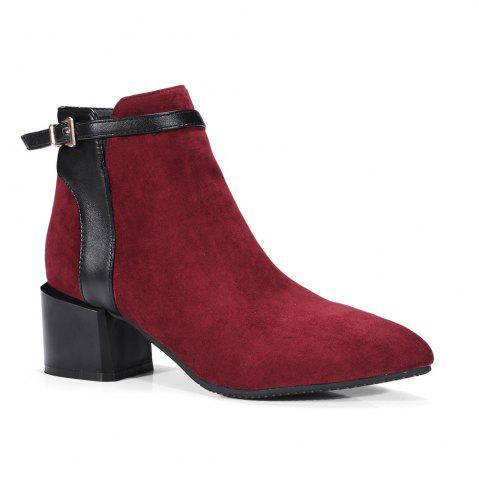 Outfits Fashion Women Pointed Toe Chunky Heel with Zip Buckle Ankle Boots - 39 BURGUNDY Mobile