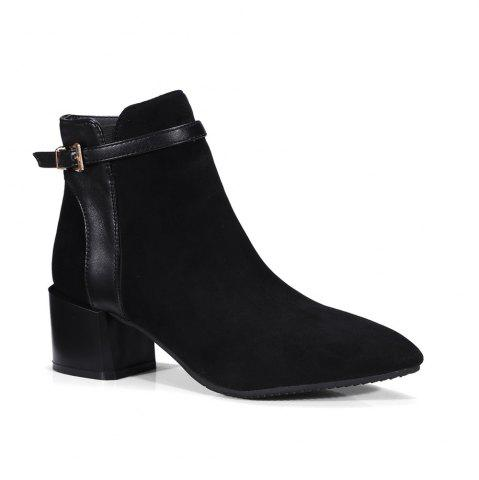 Online Fashion Women Pointed Toe Chunky Heel with Zip Buckle Ankle Boots