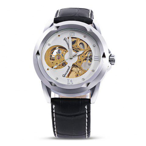 Fashion Gucamel G013 Men Auto Mechanical Watch Hollow Dial Luminous Leather Band Wristwatch BLACK LEATHER BAND+GOLD CASE+WHITE DIAL