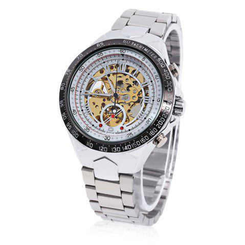Outfit Gucamel G055 Men Auto Mechanical Watch Luminous Hollow Dial Stainless Steel Band Wristwatch STEEL BAND+GOLD DISPLAY+WHITE DIAL