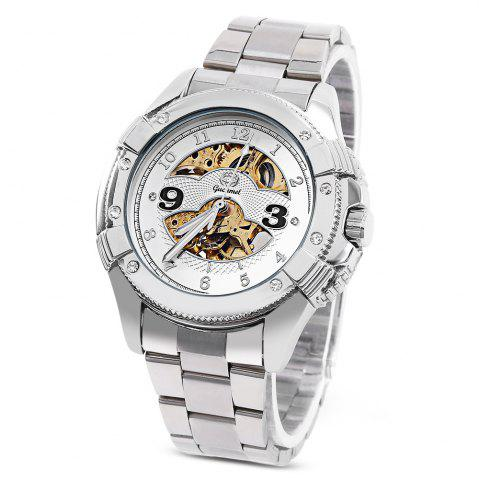 Cheap Gucamel G016 Men Auto Mechanical Watch Hollow Dial Luminous Stainless Steel Band Wristwatch STEEL BAND+GOLD DISPLAY+WHITE DIAL