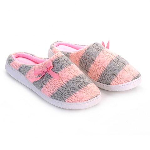 Online Ladies Cashmere Cotton Knitted Anti-slip House Slippers - ONE SIZE(35-40) PINK + GRAY Mobile