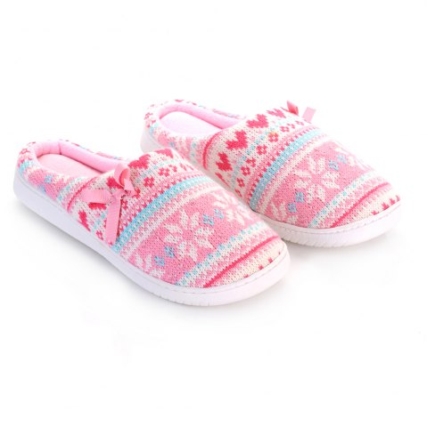 Outfit Ladies Cashmere Cotton Knitted Anti-slip House Slippers PINK AND WHITE ONE SIZE(35-40)