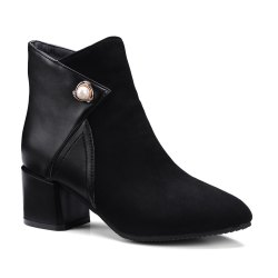 Fashion Women Pointed Toe Chunky Heel with Pearl Zip Ankle Boots - BLACK 39
