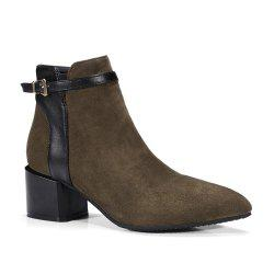 Fashion Women Pointed Toe Chunky Heel with Zip Buckle Ankle Boots -