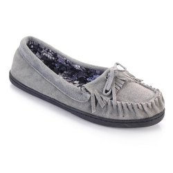 Women Suede Moccasins Floral Printing Fabric Lining TPR Outsole - GREY 37