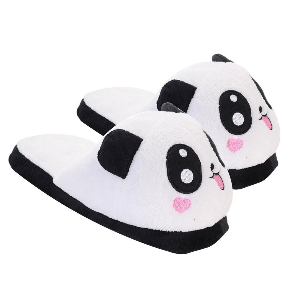 Outfits Cute Panda Home Slippers Winter Coral Velvet Upper Anti-skip Outsole