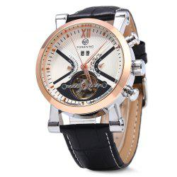 Forsining Male Tourbillon Auto Mechanical Watch Leather Strap with Date Display -