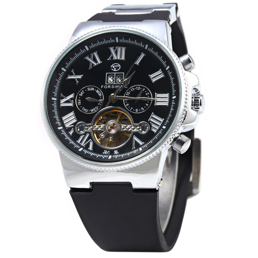 Unique Forsining 2373 Men Tourbillon Automatic Mechanical Watch Rubber Strap Date Week Month Display