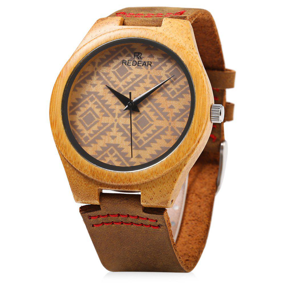 Outfits REDEAR SJ 1448 - 6 Wooden Female Quartz Watch Special Pattern Dial Leather Strap Wristwatch
