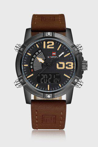 Store NAVIFORCE NF9095M Men Dual Movt Watch Luminous Calendar LED Light 3ATM Wristwatch