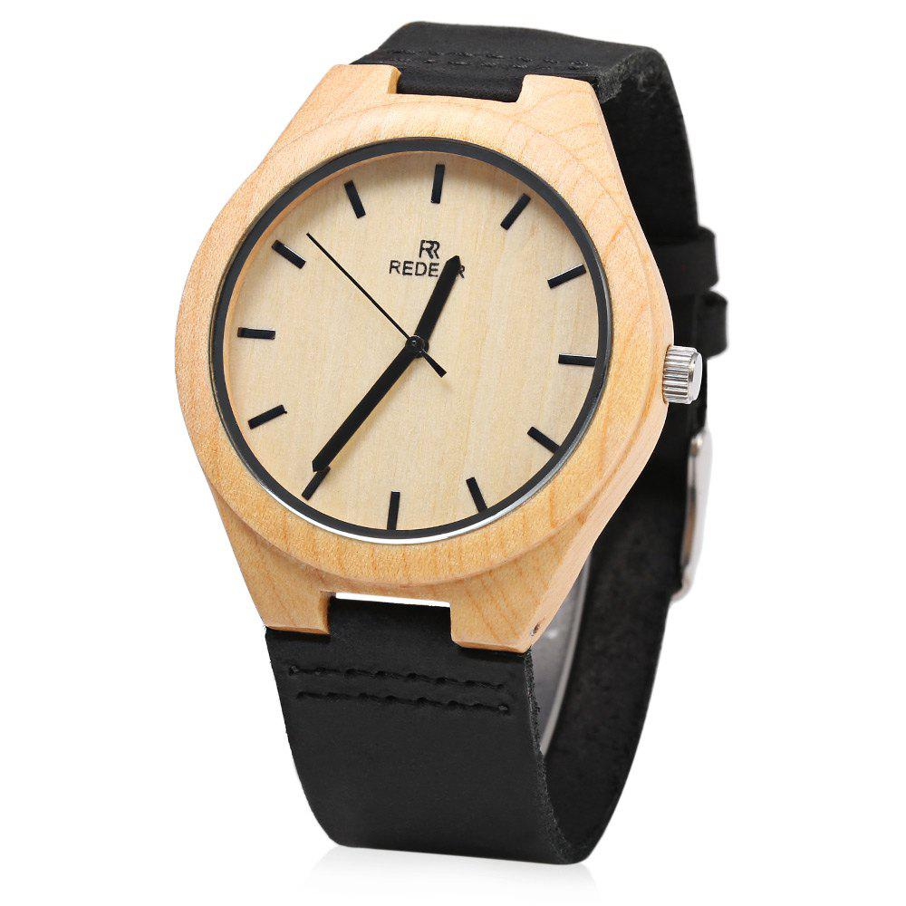 Affordable REDEAR Wooden Quartz Male Watch Simple Round Dial Leather Band Wristwatch