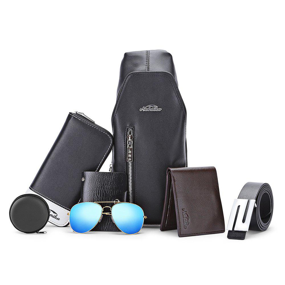 7pcs Men Chest Bag Wallet Card Holder Leather Belt SunglassesSHOES &amp; BAGS<br><br>Color: BLACK; Handbag Type: Crossbody bag; Style: Casual; Gender: For Men; Pattern Type: Solid; Closure Type: Zipper &amp; Hasp; Interior: Cell Phone Pocket,Interior Compartment,Interior Key Chain Holder; Occasion: Versatile; Main Material: PU;