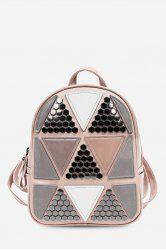 Guapabien PU Leather Bag Triangular Applique Patch Style Backpack for Women -