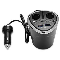 PHILIPS DLP2029 Cup Shape Cigarette Socket Splitter with Double USB Charging Port -