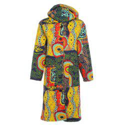 Trendy Hooded Long Sleeve Printed Pocket Women Winter Coat -