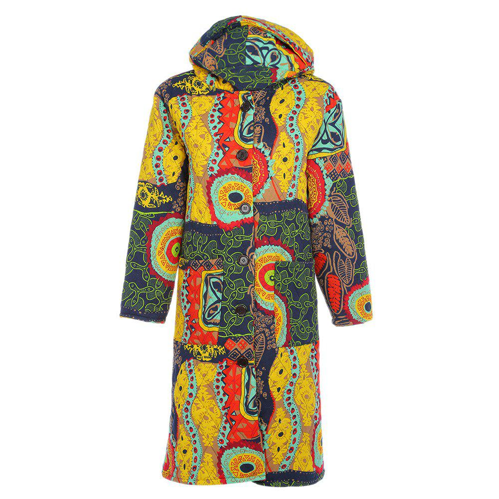 Outfits Trendy Hooded Long Sleeve Printed Pocket Women Winter Coat
