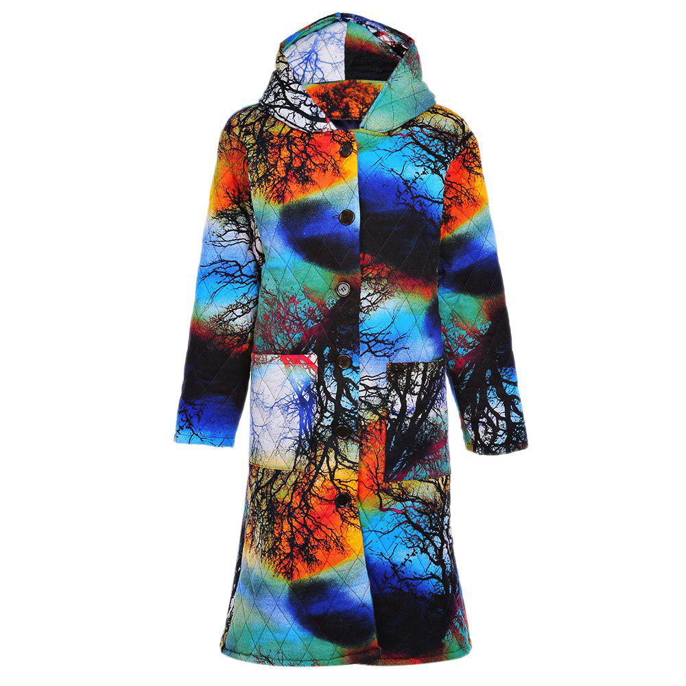 Trendy Hooded Long Sleeve Printed Pocket Women Winter CoatWOMEN<br><br>Size: 4XL; Color: COLORFUL; Material: Cotton,Polyester; Shirt Length: Medium Length; Sleeve Length: Full; Collar: Hooded; Pattern Type: Others; Weight: 0.5610kg; Package Contents: 1 x Coat;