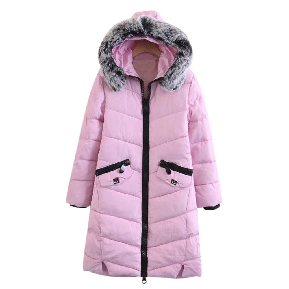 Trendy Fur Collar Long Sleeve Zipper Pocket Padded Women Winter CoatWOMEN<br><br>Size: 3XL; Color: PINK; Material: Cotton,Polyester; Shirt Length: Medium Length; Sleeve Length: Full; Collar: Hooded; Pattern Type: Others; Weight: 1.2500kg; Package Contents: 1 x Coat;