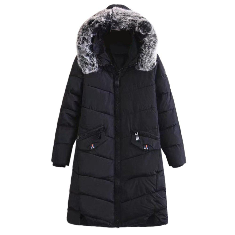 Trendy Fur Collar Long Sleeve Zipper Pocket Padded Women Winter CoatWOMEN<br><br>Size: 2XL; Color: BLACK; Material: Cotton,Polyester; Shirt Length: Medium Length; Sleeve Length: Full; Collar: Hooded; Pattern Type: Others; Weight: 1.2500kg; Package Contents: 1 x Coat;