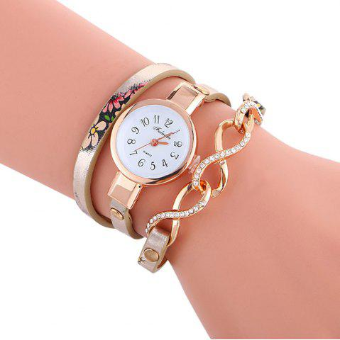 New FULAIDA Chic Female Quartz Watch Rhinestone Leather Band Fashion Bangle Wristwatch GOLDEN