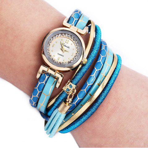 Latest FULAIDA Women Quartz Watch Rhinestone Tassel Decoration Leather Band Wristwatch