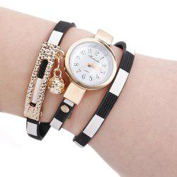 FULAIDA Women Quartz Watch Leather Band Bangle Fashion Wristwatch -