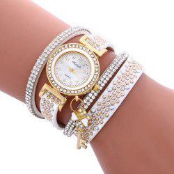 Fulaida Quartz Female Rhinestone Watch Leather Band Hand Decoration Wristwatch -