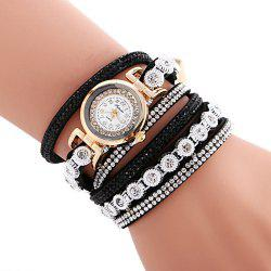 FULAIDA Female Quartz Watch Rhinestone Leather Band Fashion Bangle Wristwatch -
