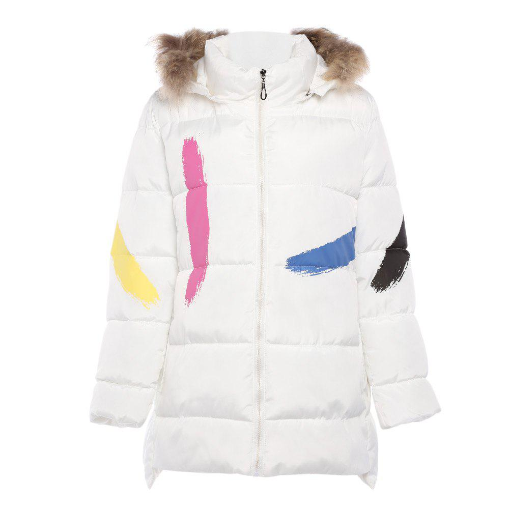 Trendy Fur Collar Long Sleeve Print Zipper Padded Women CoatWOMEN<br><br>Size: 4XL; Color: WHITE; Material: Cotton,Polyester; Shirt Length: Medium Length; Sleeve Length: Full; Collar: Hooded; Pattern Type: Others; Weight: 1.2000kg; Package Contents: 1 x Coat;