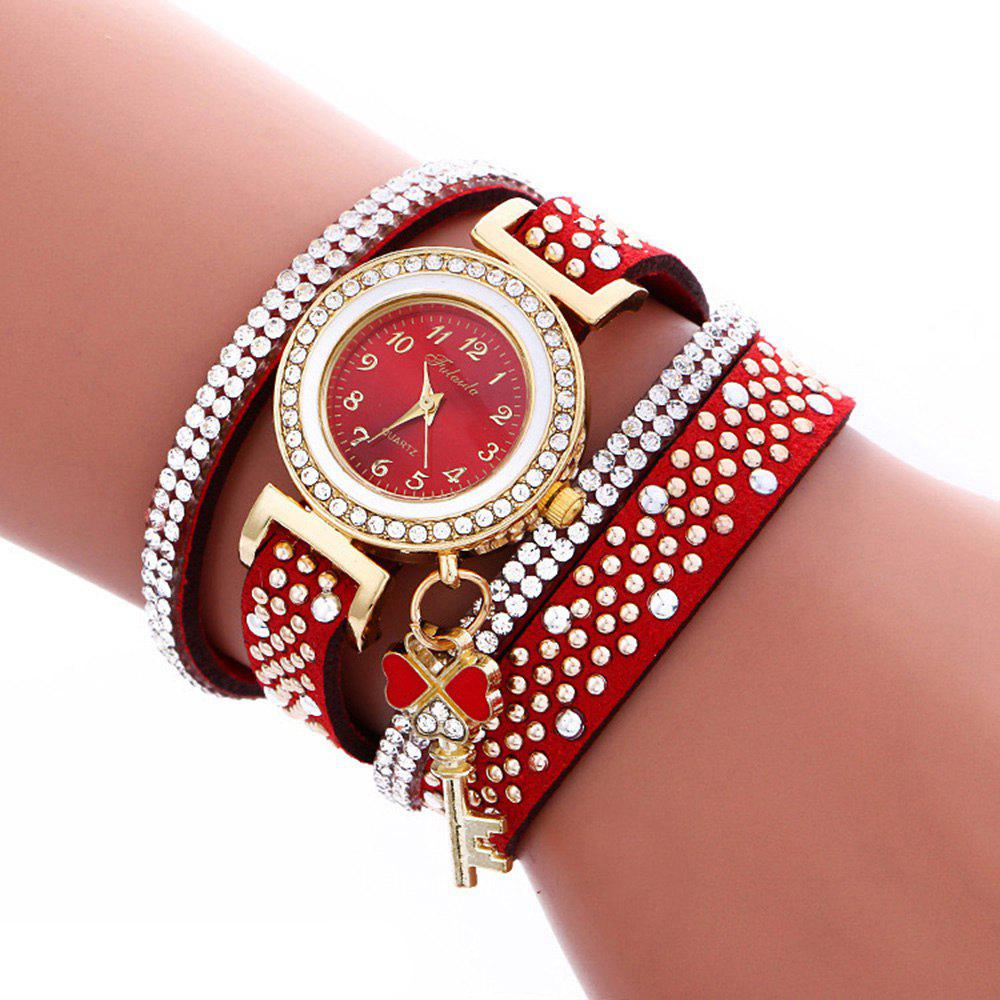 Fulaida Quartz Female Rhinestone Watch Leather Band Hand Decoration WristwatchJEWELRY<br><br>Color: RED; Band Length: 13.78 inches; Band Material Type: Leather; Band Width: 15mm; Case material: Alloy; Case Shape: Round; Dial Diameter: 0.98 inches; Dial Display: Analog; Dial Window Material Type: Glass; Gender: Women; Movement: Quartz; Style: Dress,Fashion &amp; Casual;