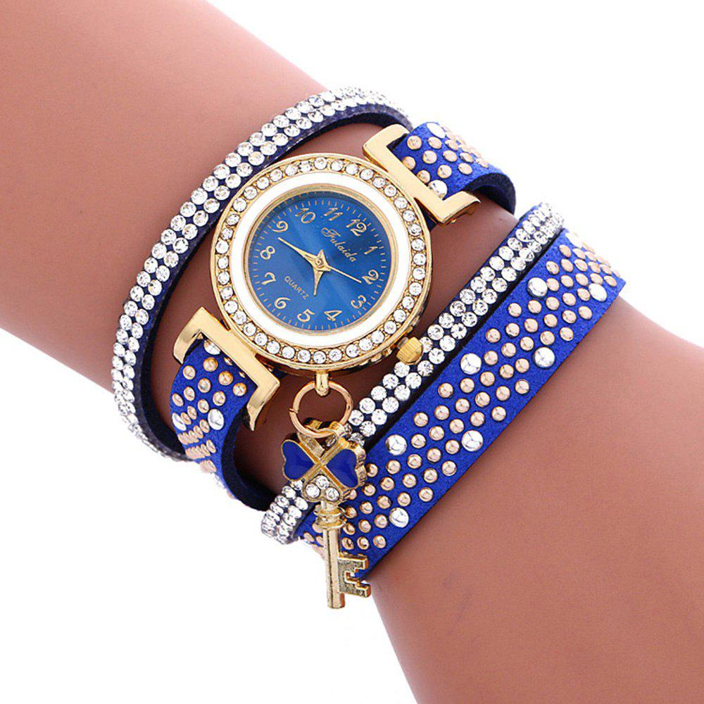 Fulaida Quartz Female Rhinestone Watch Leather Band Hand Decoration WristwatchJEWELRY<br><br>Color: BLUE; Band Length: 13.78 inches; Band Material Type: Leather; Band Width: 15mm; Case material: Alloy; Case Shape: Round; Dial Diameter: 0.98 inches; Dial Display: Analog; Dial Window Material Type: Glass; Gender: Women; Movement: Quartz; Style: Dress,Fashion &amp; Casual;