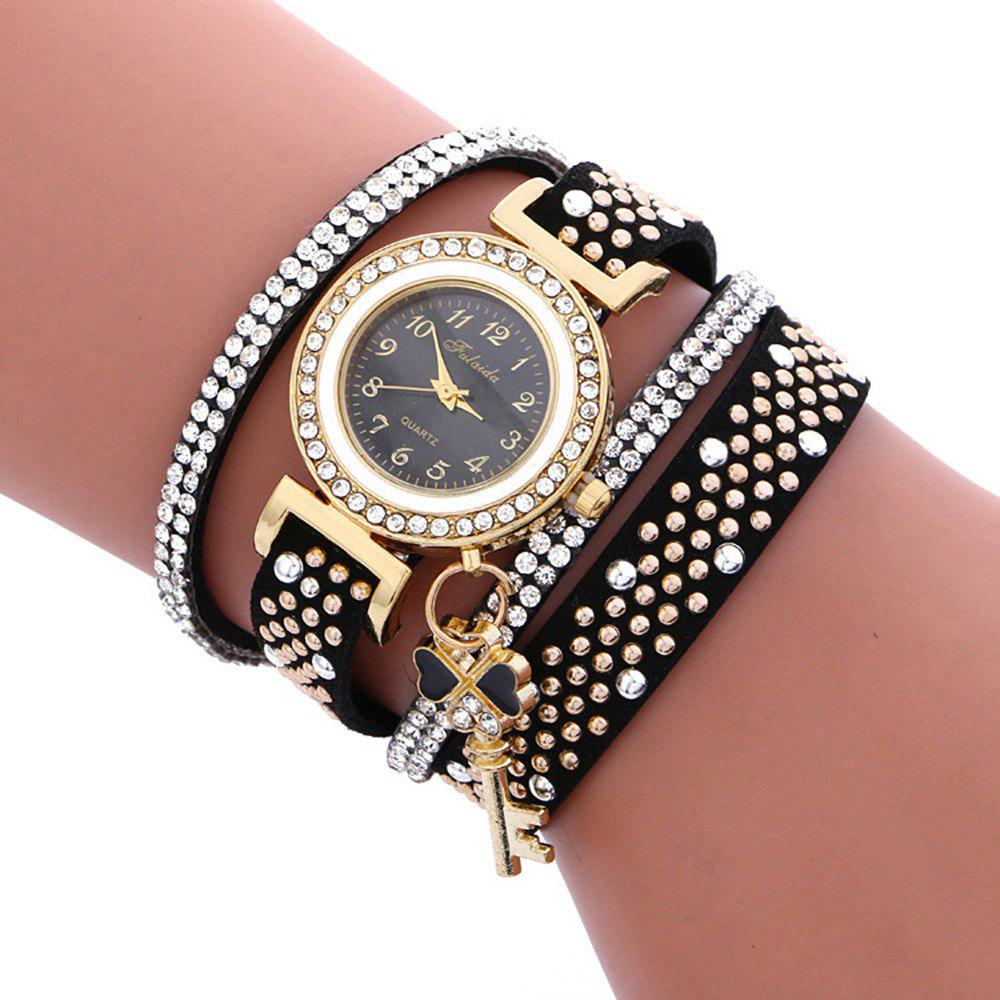 Fulaida Quartz Female Rhinestone Watch Leather Band Hand Decoration WristwatchJEWELRY<br><br>Color: BLACK; Band Length: 13.78 inches; Band Material Type: Leather; Band Width: 15mm; Case material: Alloy; Case Shape: Round; Dial Diameter: 0.98 inches; Dial Display: Analog; Dial Window Material Type: Glass; Gender: Women; Movement: Quartz; Style: Dress,Fashion &amp; Casual;