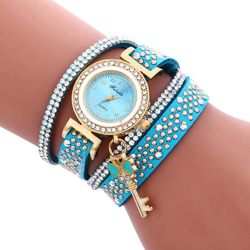 Fulaida Quartz Female Rhinestone Watch Leather Band Hand Decoration WristwatchJEWELRY<br><br>Color: LAKE BLUE; Band Length: 13.78 inches; Band Material Type: Leather; Band Width: 15mm; Case material: Alloy; Case Shape: Round; Dial Diameter: 0.98 inches; Dial Display: Analog; Dial Window Material Type: Glass; Gender: Women; Movement: Quartz; Style: Dress,Fashion &amp; Casual;