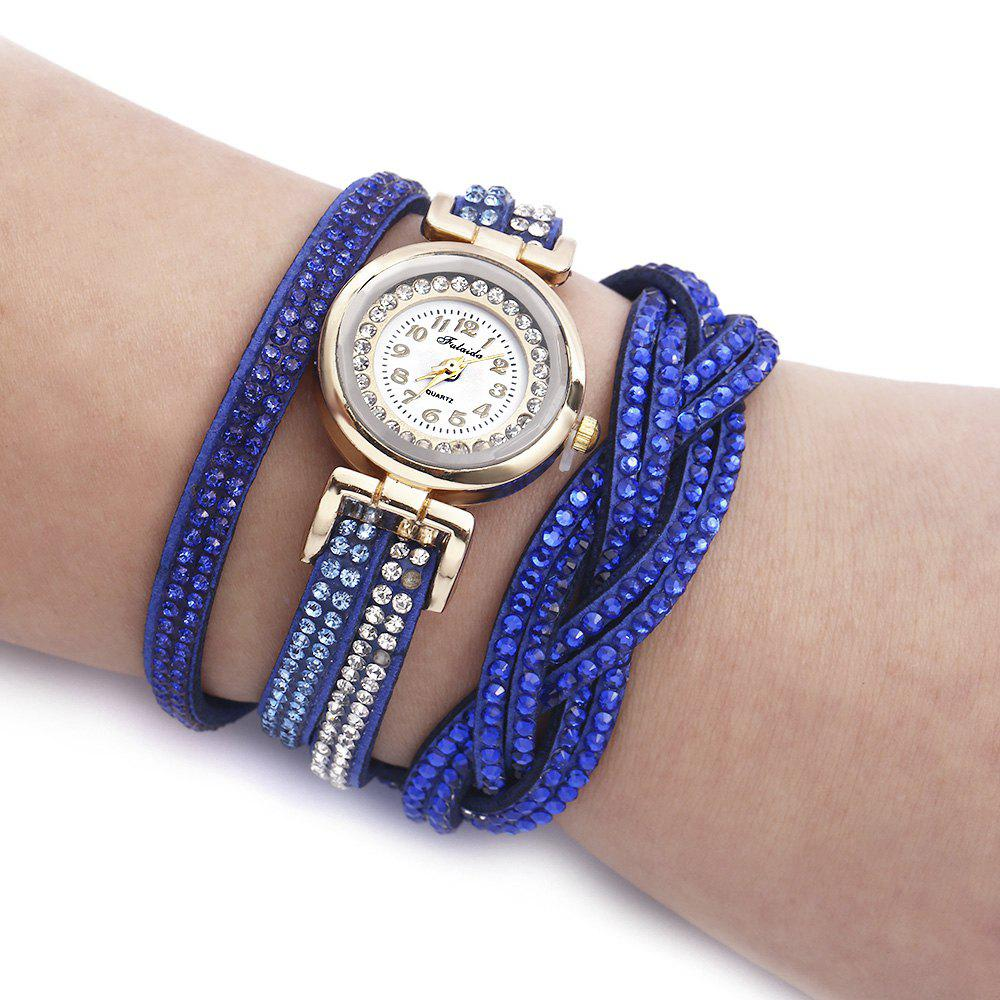 Fulaida Quartz Female Rhinestone Watch Fashion Bracelet Wristwatch Hand DecorationJEWELRY<br><br>Color: SAPPHIRE BLUE; Band Length: 14.17 inches; Band Material Type: Leather; Band Width: 20mm; Case material: Alloy; Case Shape: Round; Dial Diameter: 0.98 inches; Dial Display: Analog; Dial Window Material Type: Glass; Gender: Women; Movement: Quartz; Style: Dress,Fashion &amp; Casual;
