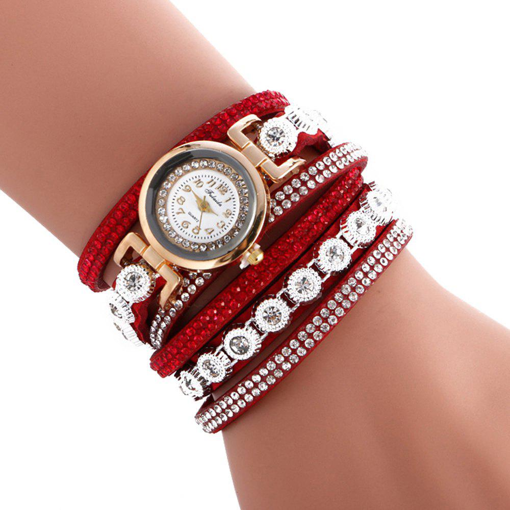 FULAIDA Female Quartz Watch Rhinestone Leather Band Fashion Bangle WristwatchJEWELRY<br><br>Color: RED; Band Length: 15.55 inch; Band Material Type: Leather; Band Width: 20mm; Case material: Alloy; Case Shape: Round; Dial Diameter: 1.11 inch; Dial Display: Analog; Dial Window Material Type: Glass; Gender: Women; Movement: Quartz; Style: Fashion &amp; Casual;