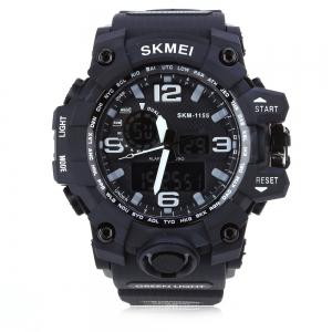 SKMEI 1155 Men Double Movement Watch Water Resistance Dual Time Day Alarm Light Wristwatch -