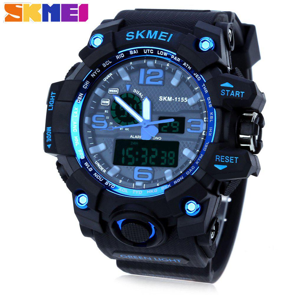SKMEI 1155 Men Double Movement Watch Water Resistance Dual Time Day Alarm Light WristwatchJEWELRY<br><br>Color: BLUE; Band Length: 8.27; Band Length Unit: inch; Band Material Type: PU; Band Width: 25mm; Case material: PC; Case Shape: Round; Clasp type: Pin buckle; Dial Diameter: 1.77; Dial Diameter Unit: inch; Dial Display: Analog-Digital; Dial Window Material Type: Glass; Feature: Alarm,Day,Led Display; Gender: Men; Movement: Digital,Quartz; Style: Simple; Water Resistance Depth: 50m;