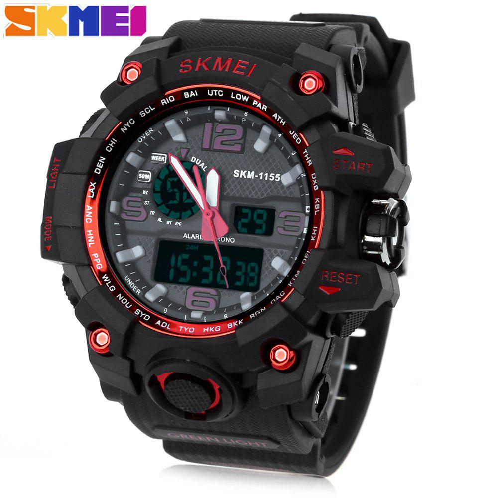 SKMEI 1155 Men Double Movement Watch Water Resistance Dual Time Day Alarm Light WristwatchJEWELRY<br><br>Color: RED; Band Length: 8.27; Band Length Unit: inch; Band Material Type: PU; Band Width: 25mm; Case material: PC; Case Shape: Round; Clasp type: Pin buckle; Dial Diameter: 1.77; Dial Diameter Unit: inch; Dial Display: Analog-Digital; Dial Window Material Type: Glass; Feature: Alarm,Day,Led Display; Gender: Men; Movement: Digital,Quartz; Style: Simple; Water Resistance Depth: 50m;