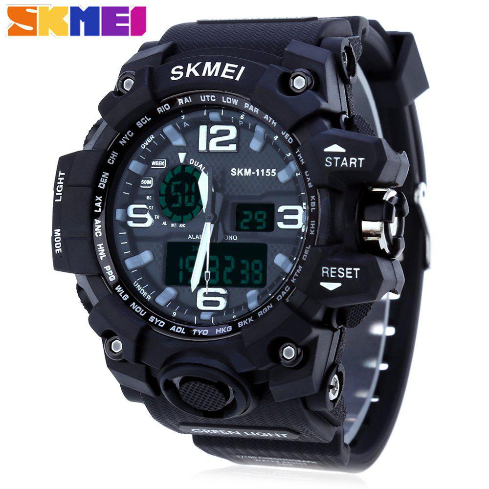 SKMEI 1155 Men Double Movement Watch Water Resistance Dual Time Day Alarm Light WristwatchJEWELRY<br><br>Color: BLACK; Band Length: 8.27; Band Length Unit: inch; Band Material Type: PU; Band Width: 25mm; Case material: PC; Case Shape: Round; Clasp type: Pin buckle; Dial Diameter: 1.77; Dial Diameter Unit: inch; Dial Display: Analog-Digital; Dial Window Material Type: Glass; Feature: Alarm,Day,Led Display; Gender: Men; Movement: Digital,Quartz; Style: Simple; Water Resistance Depth: 50m;