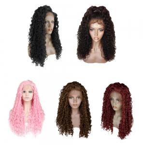 Women Trendy Free Part Fluffy Long Curly Lace Front Synthetic Wig -