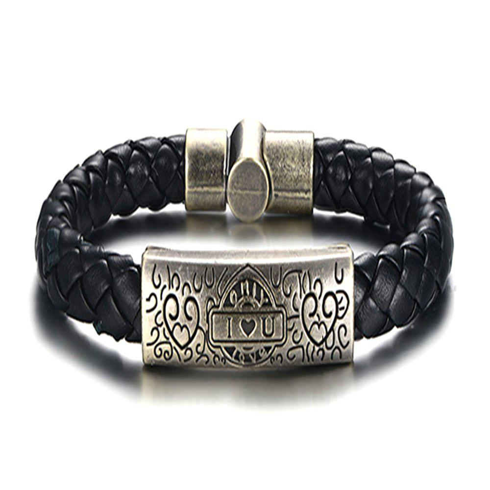 Shop Trend Alloy Material PU Love Hand Rope Men Bracelet Jewelry