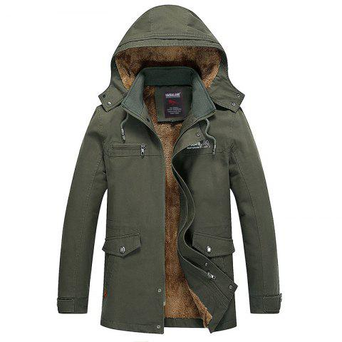 Cheap Men Winter Solid Warm Coat