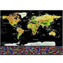 Scratch-off World Map with US States and Country Flags Interior Decoration Perfect Gifts for Travelers 825 x 595mm