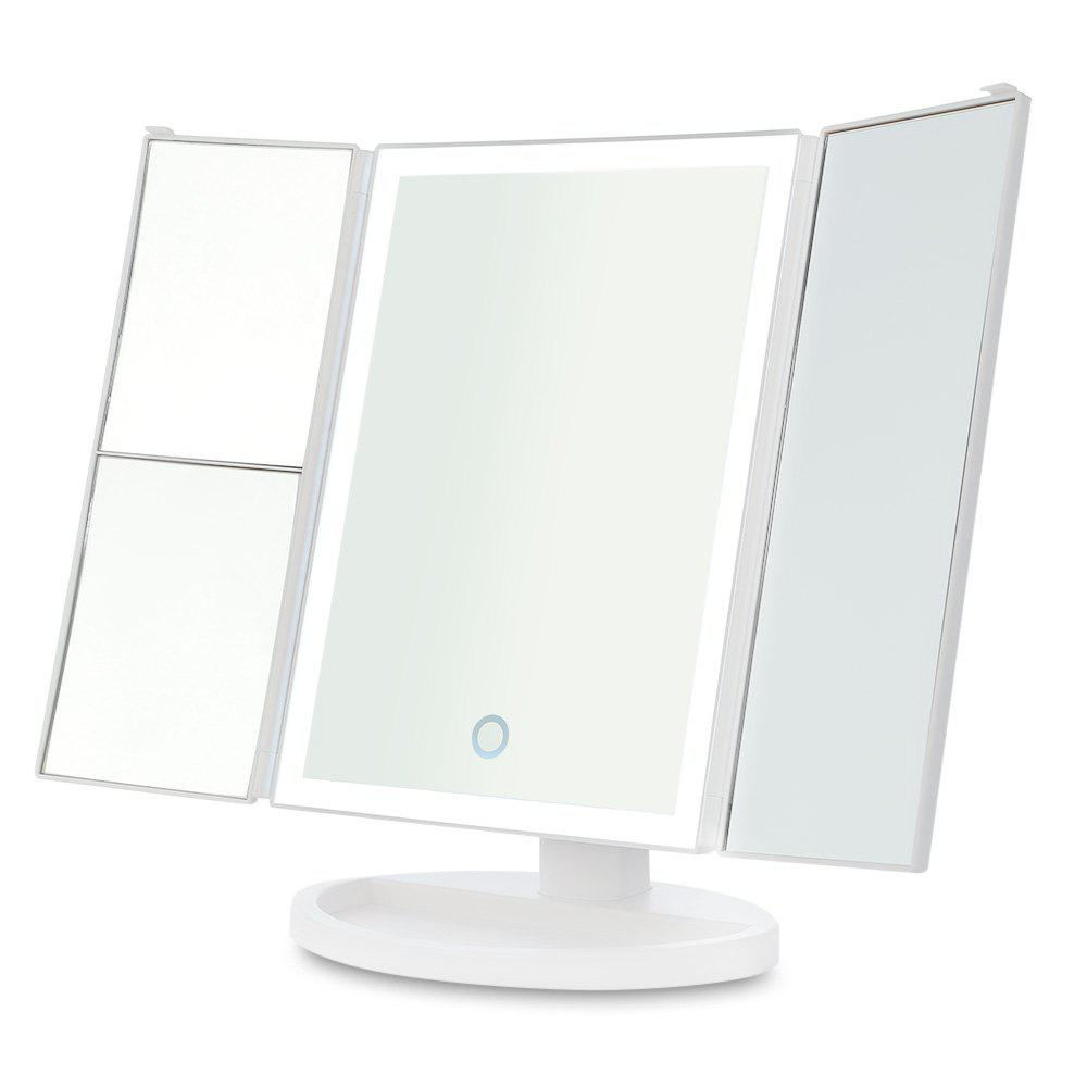 Fancy Tri-folded 2X 3X 10X Magnification 3 Sides LED Light Cosmetic Mirror