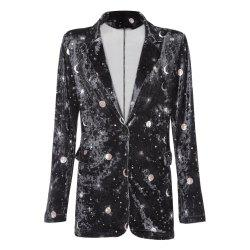 Trendy Lapel Long Sleeve Moon Star Print Shoulder Pad Velour Button Pocket Women Suit -